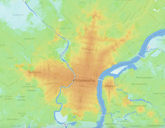 Overview Screenshot of UMN's transit accessibility map of Philadelphia